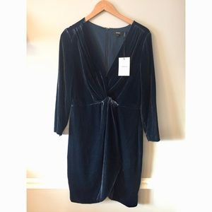 Theory • Luxe Blue Velvet Wrap Dress